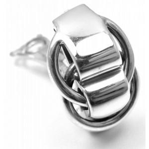 Hermes 925 Sterling Silver Logos Earrings