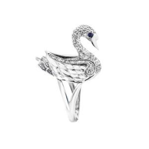 14K WHITE GOLD DIAMOND AND SAPPHIRE SWAN RING