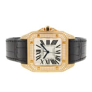 Cartier Santos 100 WM502051 18K Yellow Gold 33mm Womens Watch