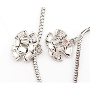 Chanel Silver Tone Baguette Crystal Long Link Piercing Earrings
