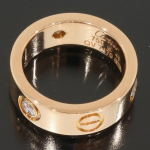 Cartier 18K Rose Gold Half Diamonds Love Ring Size 3.75