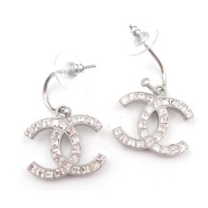 Chanel Silver Tone CC Square Crystal Hoop Dangle Piercing Earrings