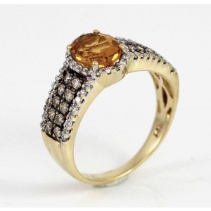 LeVian 14K Yellow Gold Chocolate Diamond & Orange Citrine Ring Size 5