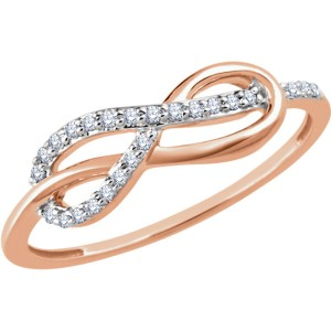 14K Rose Gold & 1/10ct Diamond Infinity Knot Ring