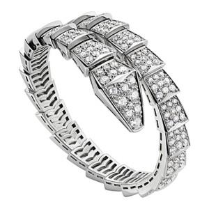 Bvlgari 18K White Gold and Diamond Serpenti Bracelet BR855231