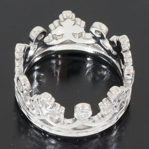 Carrera Y Carrera 18K White Gold Diamond Crown Motif Ring Size 8.75