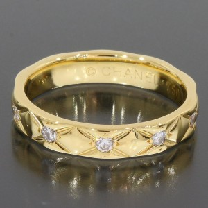 Chanel 18K Yellow Gold & Diamond Matelasse Ring Size 5.5