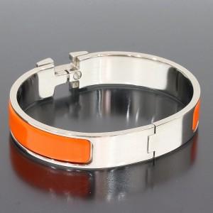 Hermes H Logo Enamel Palladium Plated Bangle Bracelet