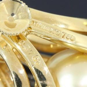 Mikimoto 18K Yellow Gold Pearl & 0.37ct Diamond Earrings
