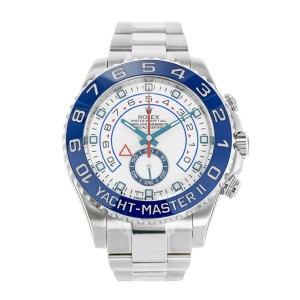 Rolex Yacht-Master II 116680 Stainless Steel & White Dial 44mm Mens Watch