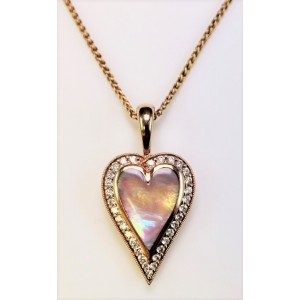 Kabana 14K Rose Gold with 0.39ct Diamonds & Pink Mother of Pearl Heart Necklace NPCF520