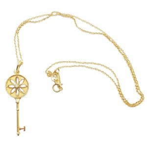 Tiffany & Co. 18K Yellow Gold Diamond Small Daisy Key Pendant Necklace