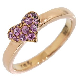Ponte Vecchio 18K Rose Gold 0.23 Ct Pink Sapphire Heart Ring Size 4.75