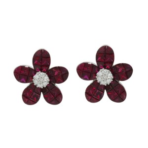 18K White Gold Ruby & Diamonds Flower Earrings