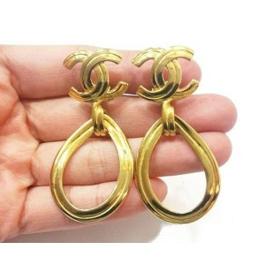 Chanel 18K Gold Plated CC Tear Drop Clip on Earrings