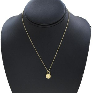 Tiffany & Co. 18k Yellow Gold 0.01 Ct Diamond Round Rock Necklace