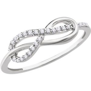 14K White Gold & 1/10ct. Diamond Infinity Knot Ring