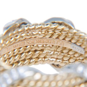 Tiffany & Co. 18K Yellow Gold & Platinum 0.77ct Diamond Schlumberger X Ring Sz 4.5