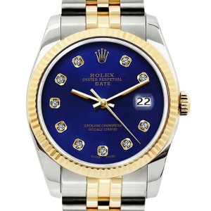 Rolex Date Stainless Steel and Yellow Gold Blue Diamond Dial 34mm Watch