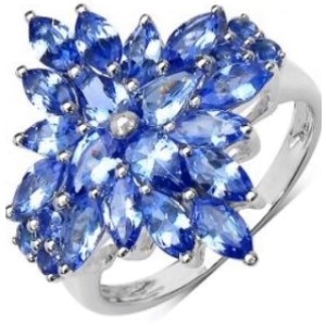 White Gold Over Sterling Silver & Tanzanite Ring Size 7
