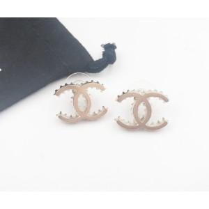 Chanel Gold-Tone CC Ruffle Edge Piercing Earrings