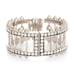 Alexander McQueen Rhinestone Statement Skull and Spike Bracelet