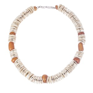 Algerian Baltic Amber and Ostrich Egg Shell Necklace