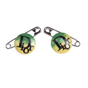 Dior Rasta Safety Pin Earrings