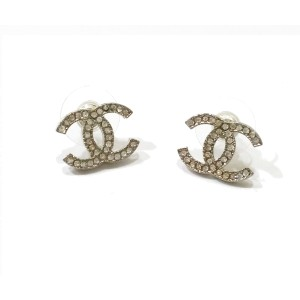Chanel Silver Tone and Rhinestone CC Moscova Classic Piercing Earrings