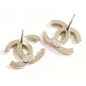 Chanel Silver Tone and Rhinestone CC Moscova Classic Piercing Earrings