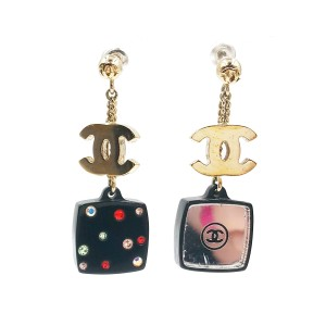 Chanel Gold-Tone Metal CC Colorful Crystal Compact Mirror Earrings