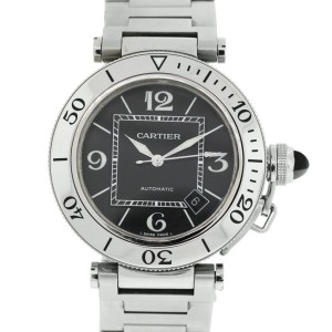 CARTIER PASHA BLACK DIAL STAINLESS STEEL WATCH