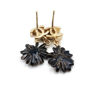 Chanel Gold CC Black Daisy Earrings