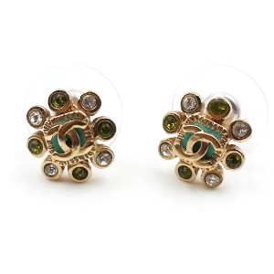Chanel Gold-Tone Metal CC Clear Green Crystal Earrings