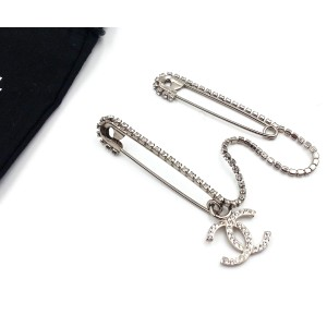 Chanel Silver-Tone Metal CC Chain Double Safety Pin