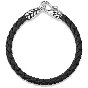 David Yurman Sterling Silver & Leather Chevron Bracelet