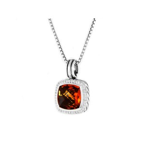 David Yurman Sterling Silver Citrine & 0.40ct Diamond Albion Pendant Necklace