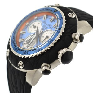 Glam Rock Miami Chronograph 50mm Blue Dial Black Silicone Watch
