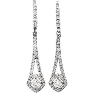 14K White Gold & 0.75ct Diamond Chandelier Earrings