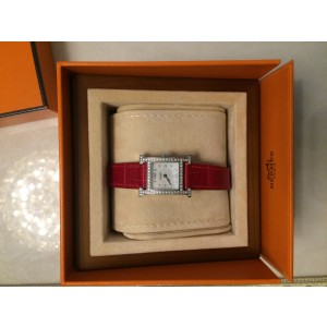 Hermes Heure H PM Diamond With Ember Alligator Leather Strap Womens Watch