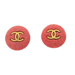 "Chanel ""CC"" Bubble Gum Clip On Earrings"