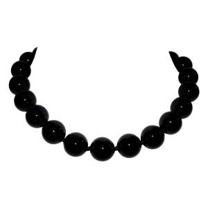 Alberto Juan Silver-Tone Metal & Black Onyx Beaded Princess Necklace