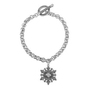 Sterling Silver Snow Flake Charm Toggle Bracelet