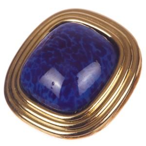 Christian Dior Faux Lapis Lazuli Murano Glass Cabochon Earrings