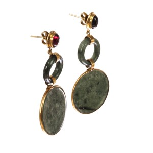Red Garnet and Jade Dangle Earrings