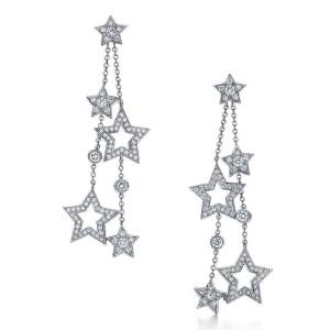 Tiffany & Co. Stars Platinum PT950 Diamond Multi Drop Dangle Earrings