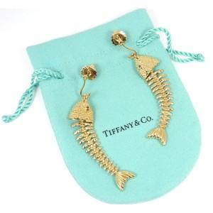 Tiffany & Co. 18K Yellow Gold & Ruby Fish Skeleton Textured Bone Drop Earrings