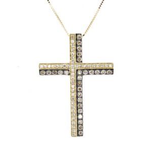 Espresso Diamond Gold Cross Pendant Necklace
