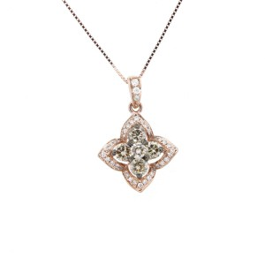 Espresso Rose Gold Flower Necklace