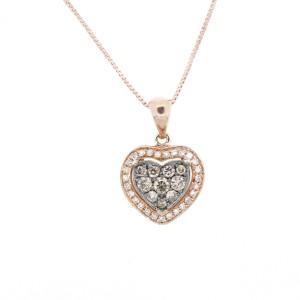 Espresso Rose Gold Heart Necklace